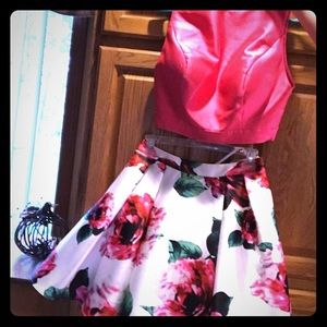 Formal Two piece floral hot pink homecoming dress